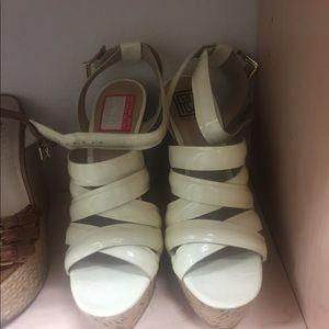Pour la victoire white patent cork wedge sandal
